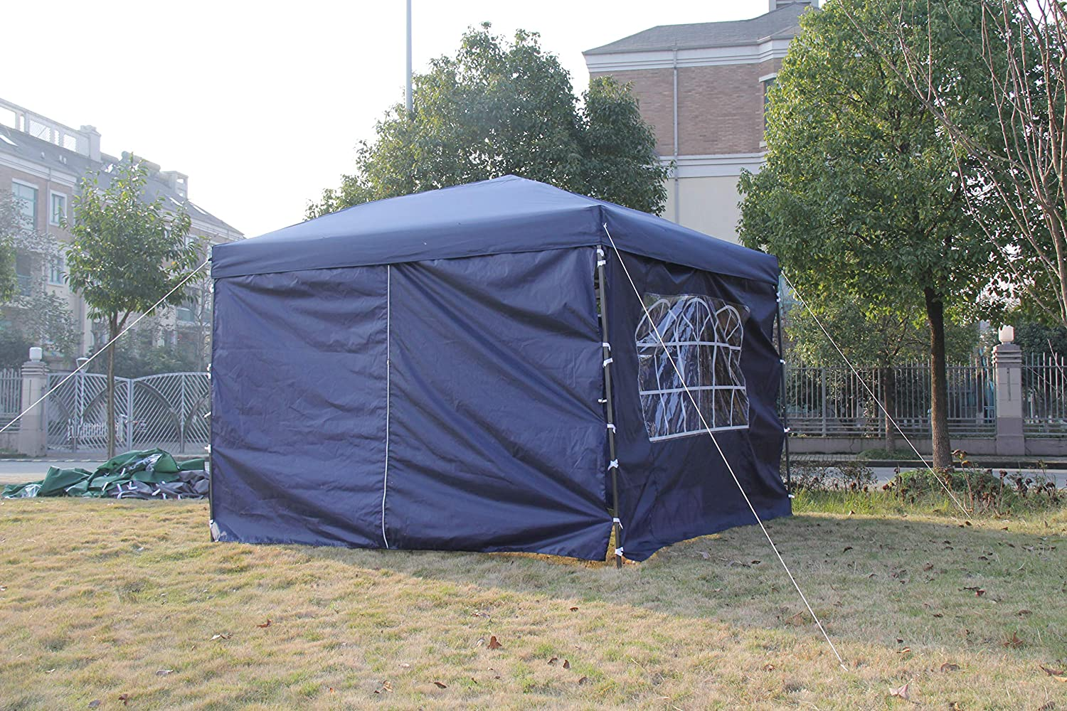 Blue Pop Up Garden Gazebo 3x3m Wedding Tent Marquee Canopy With Sidewall Bars and Sand Bags