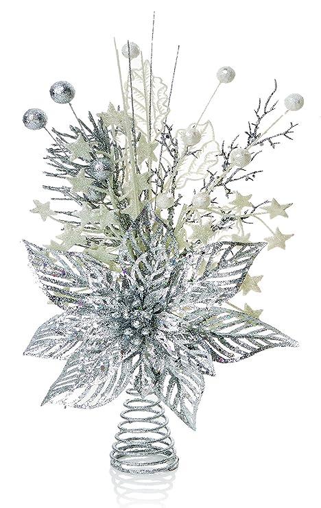 Puntale Albero Di Natale.Punta Per Albero Di Natale A Forma Di Fiore Di Poinsezia