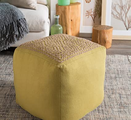OS 1 Piece Olive Square Shaped Small Ottoman, Diamond Pattern, Pouf, Cotton,