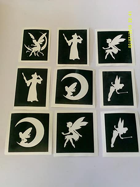 30 x fairy themed stencils mixed for glitter tattoos airbrush face painting