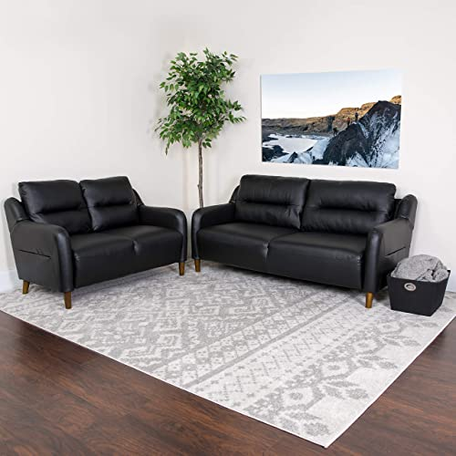 Flash Furniture Newton Hill Upholstered Bustle Back Loveseat and Sofa Set in Black LeatherSoft