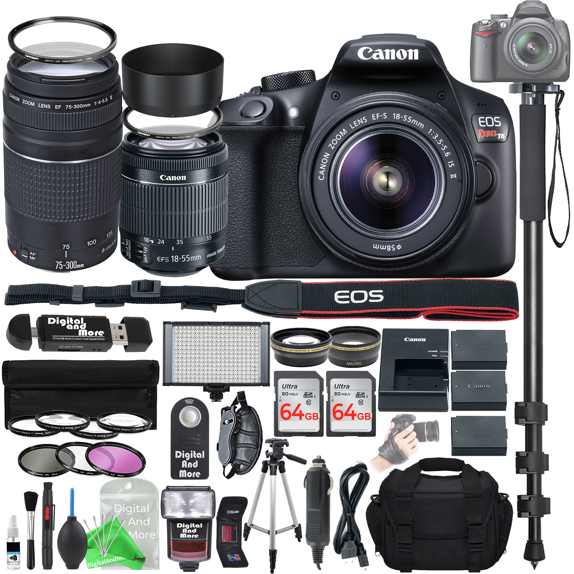 Canon EOS Rebel T6 Digital SLR Camera with 18-55mm EF-S f/3.5-5.6 IS II Lens & EF 75-300mm f/4-5.6 III Lens + Ultimate Platinum Bundle