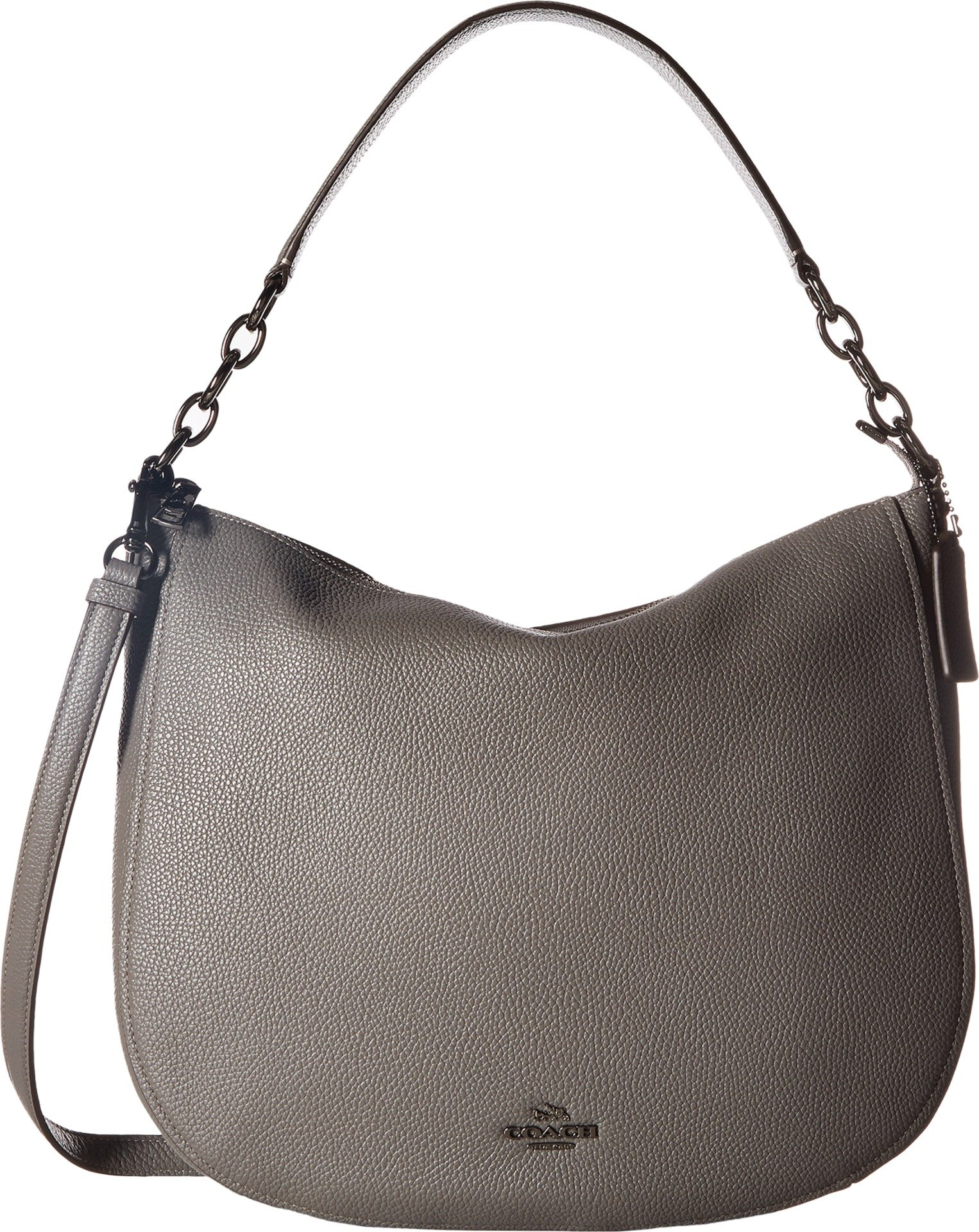 COACH Women's Polished Pebbled Leather Chelsea 32 Hobo Dk/Heather Grey One Size