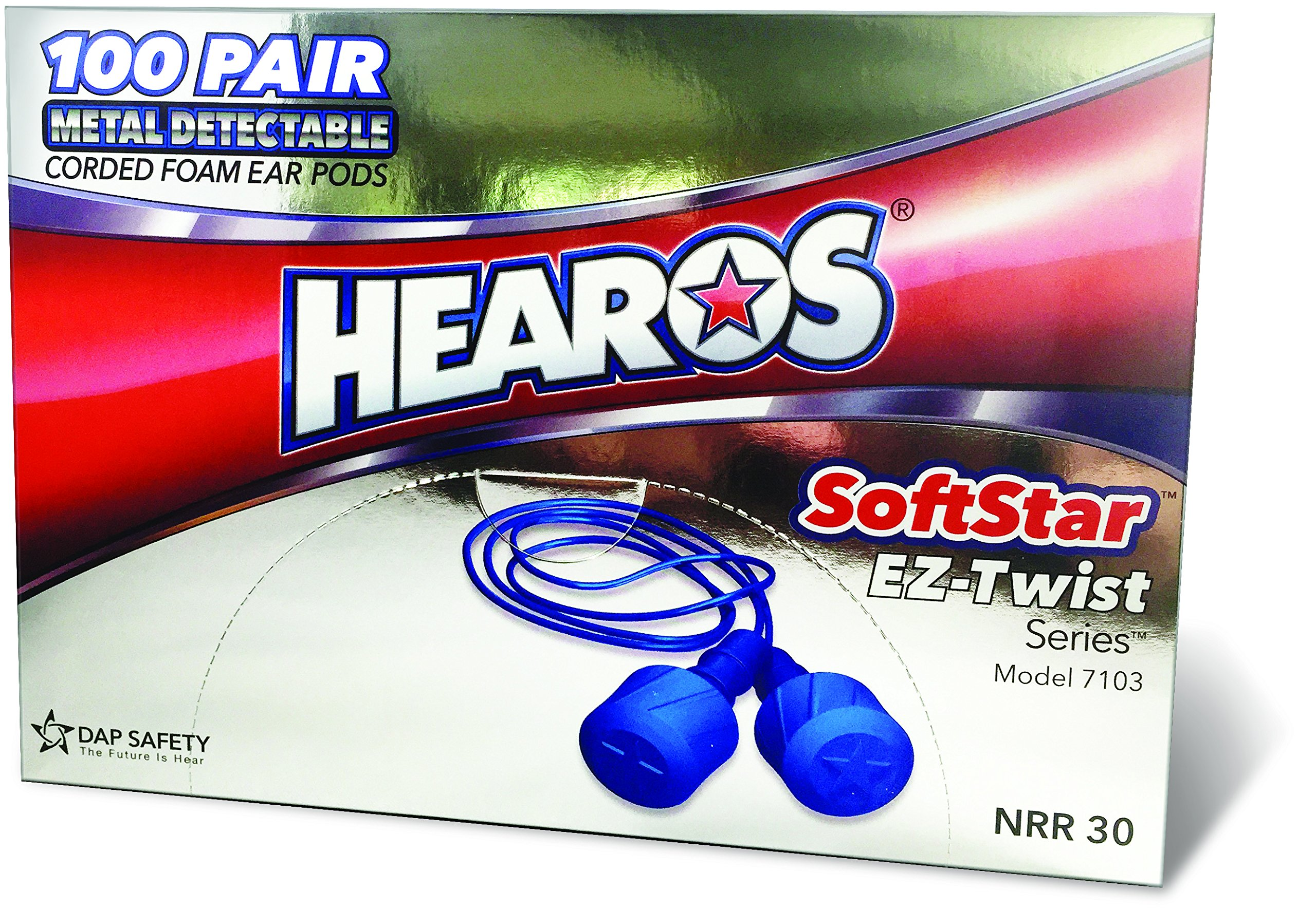 "HEAROS Metal Detectable SoftStar EZ Twist Series ""Hybrid"" Foam Ear Plugs"