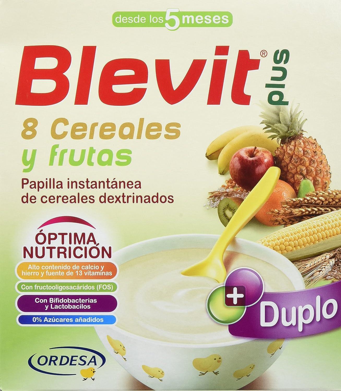 Blevit Plus Duplo 8 Cereales y Frutas, 1 unidad 600 gr. A partir de los 5 meses, contiene gluten.