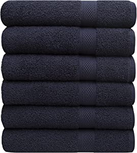 """Pleasant Home Towels Set for Gym, Pool & Spa - 6 Pack – 24"""" x 50"""" - 100% Cotton - 500 GSM – Lightweight, Soft & Absorbent (Navy)"""