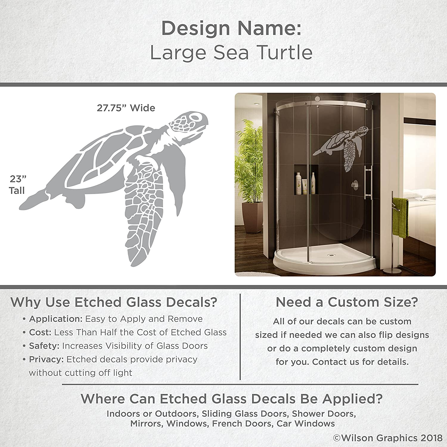 Glass Doors and Windows Etched Decal Coastal Design Series Custom Sizes Available For Shower Doors 23 tall x 27.75 wide Large Sea Turtle