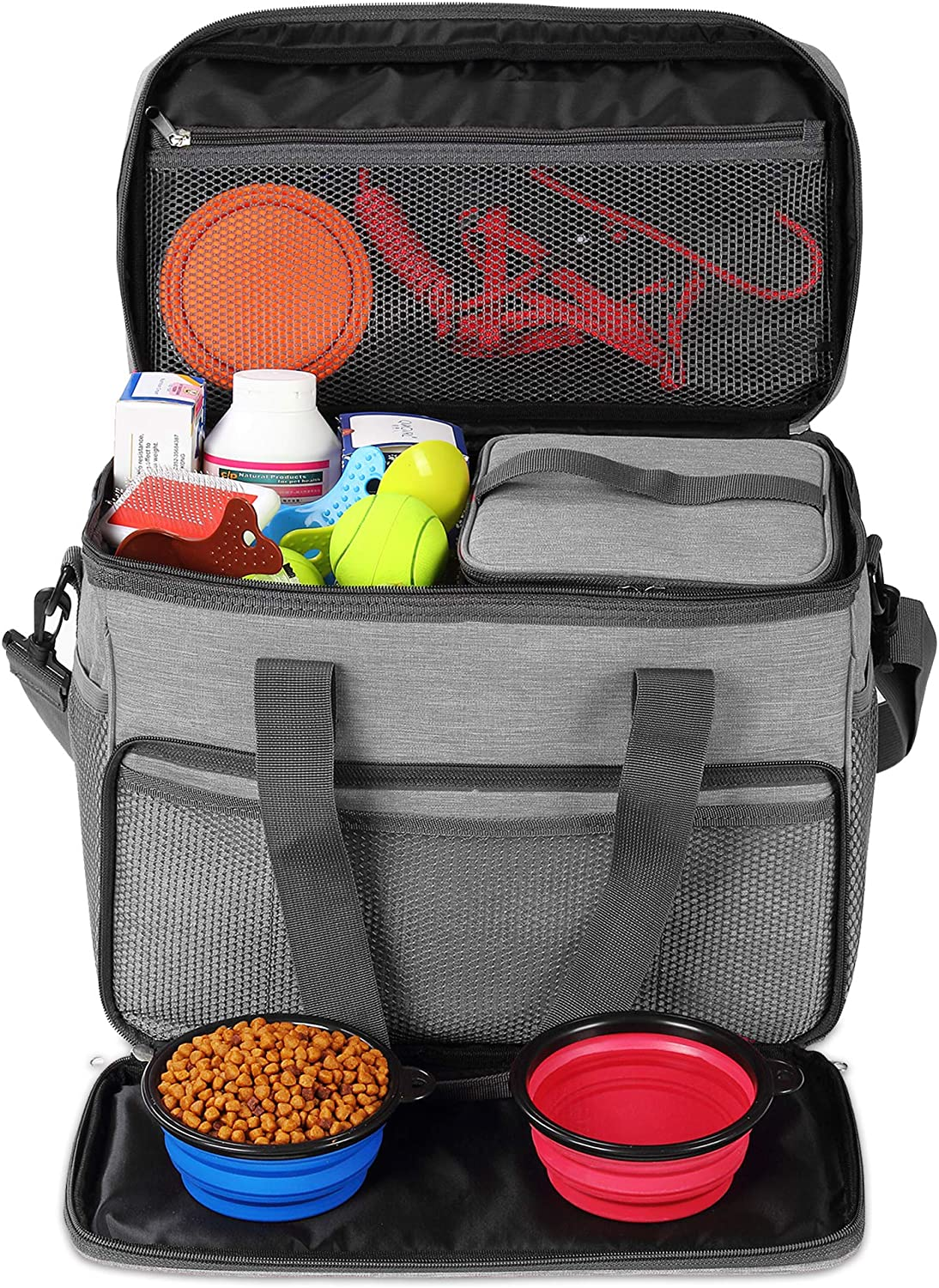 KOPEKS Dog Cat Pet Travel Bag Thermal Bag with Compartments Bowl and Drinker Foldable Travel Kit