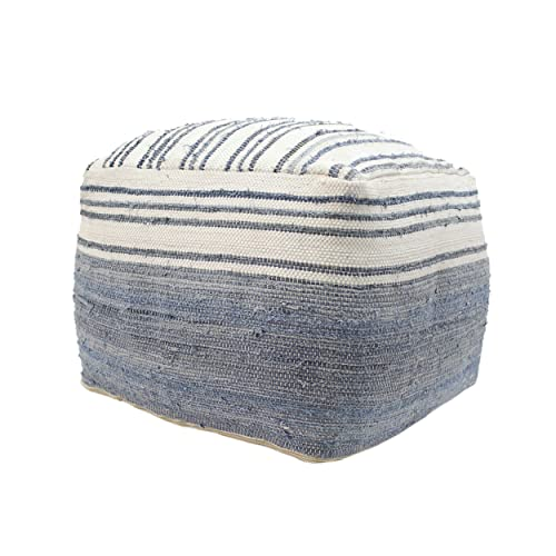 Christopher Knight Home Althea Large Square Casual Pouf, Boho, Blue and White Recycled Denim and Chindi, Sequins
