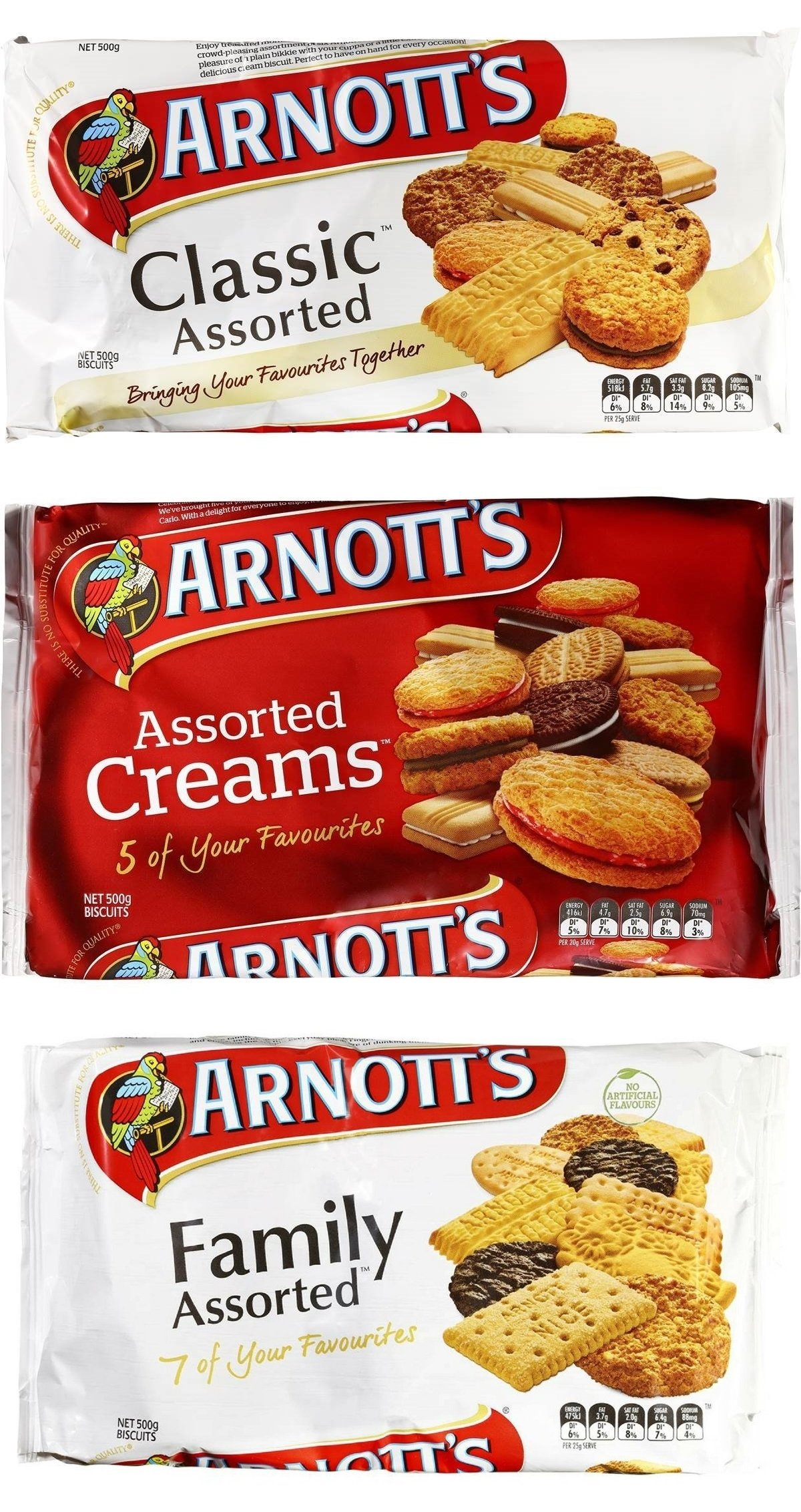 Bundle - Arnott's Assorted Cream Classic and Family Biscuits 3x 500g
