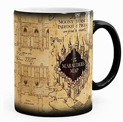 3646c1237c6 Harry Potter inspired Marauders map morphing mug color changing 11 oz  ceramic mug: Amazon.co.uk: Kitchen & Home
