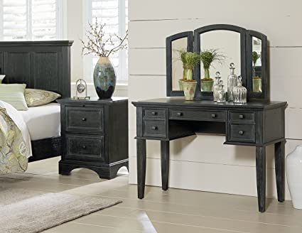 INSPIRED by Bassett BP-4200-215B Farmhouse Basics Queen Bedroom Set Rustic  Black