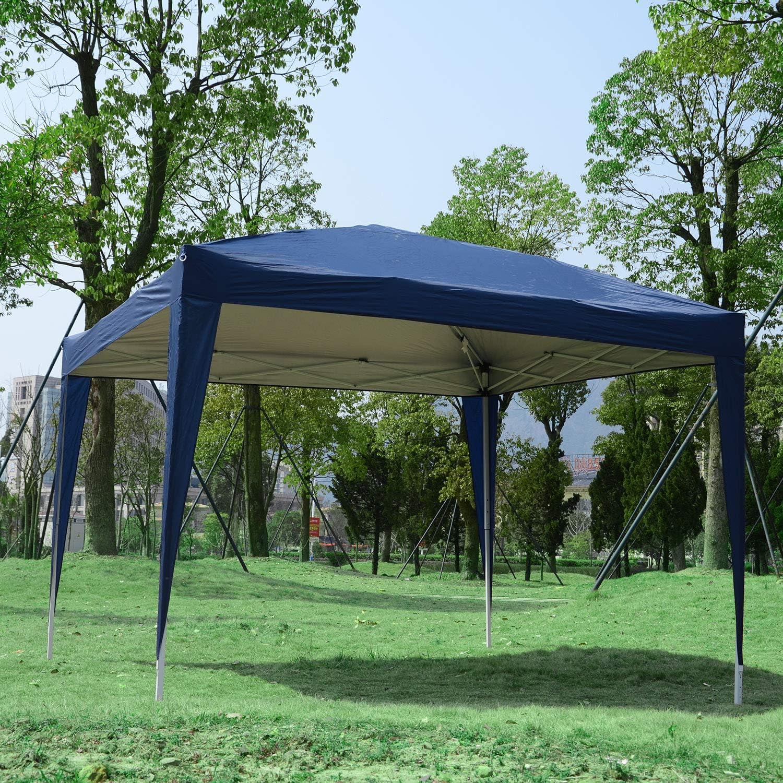 Outsunny Carpa Gazebo con Paredes Desmontables Ventanas Visibles Puerta con Cremallera Incluye Bolsa de Transporte Cuerdas y Piquetas 3x3 m Azul: Amazon.es: Jardín