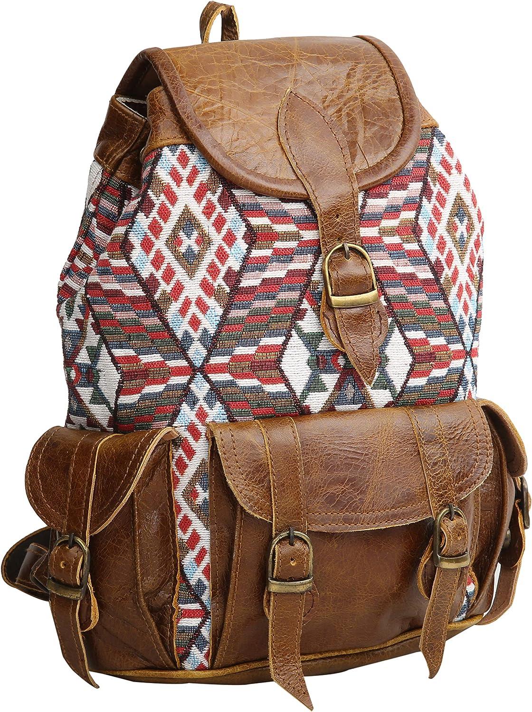 Jacquard Leather Colorfull Backpack Vintage Stylish Leather Backpack