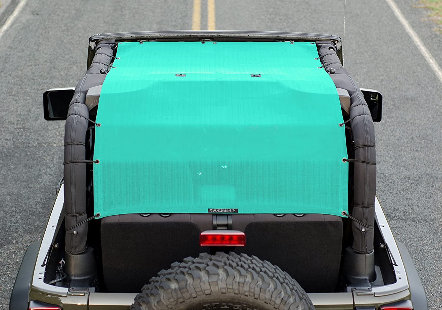 2007-2017 ALIEN SUNSHADE 2-Door Jeep Wrangler Mesh Shade Top Cover Extra Long with 10 Year Warranty Provides UV Protection for Your 2-Door JK