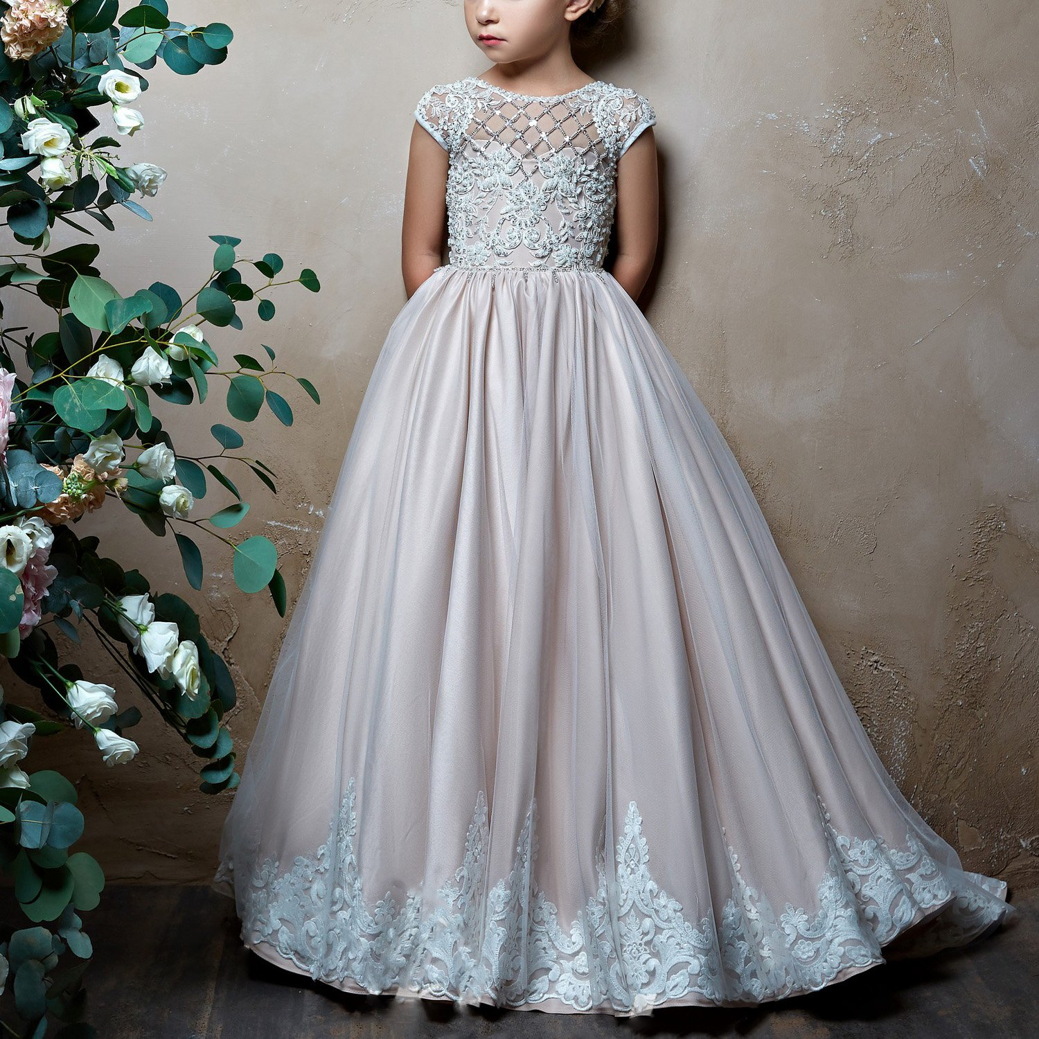 Amazon.com: SHENLINQIJ Girls 2-14 Years Lace Bridesmaid Wedding Flower Girl Party Dress with Embroidery: Clothing