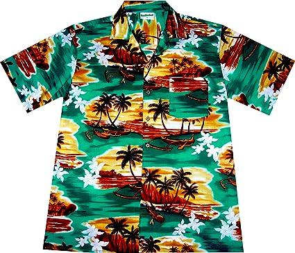 """Camisa Hawaiana/Hawaii Hombre """"Amanecer en el paraíso"""" / 100% algodón/tamaño M – 3XL / Turquesa: Amazon.es: Ropa y accesorios"""