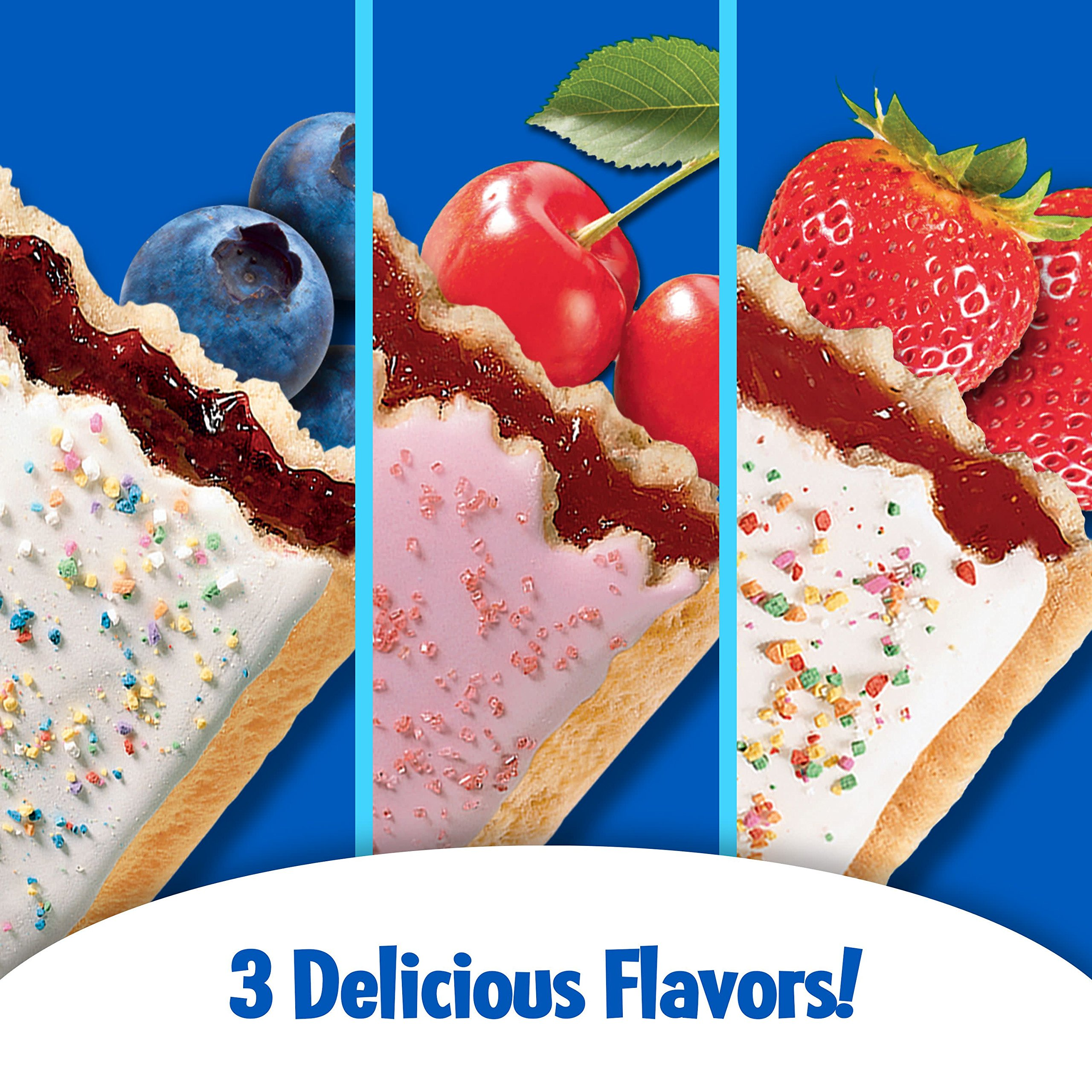 Pop-Tarts Breakfast Toaster Pastries, Flavored Variety Pack, Frosted Strawberry, Frosted Blueberry, Frosted Cherry, 12 Count,(Pack of 12) by Pop-Tarts (Image #4)