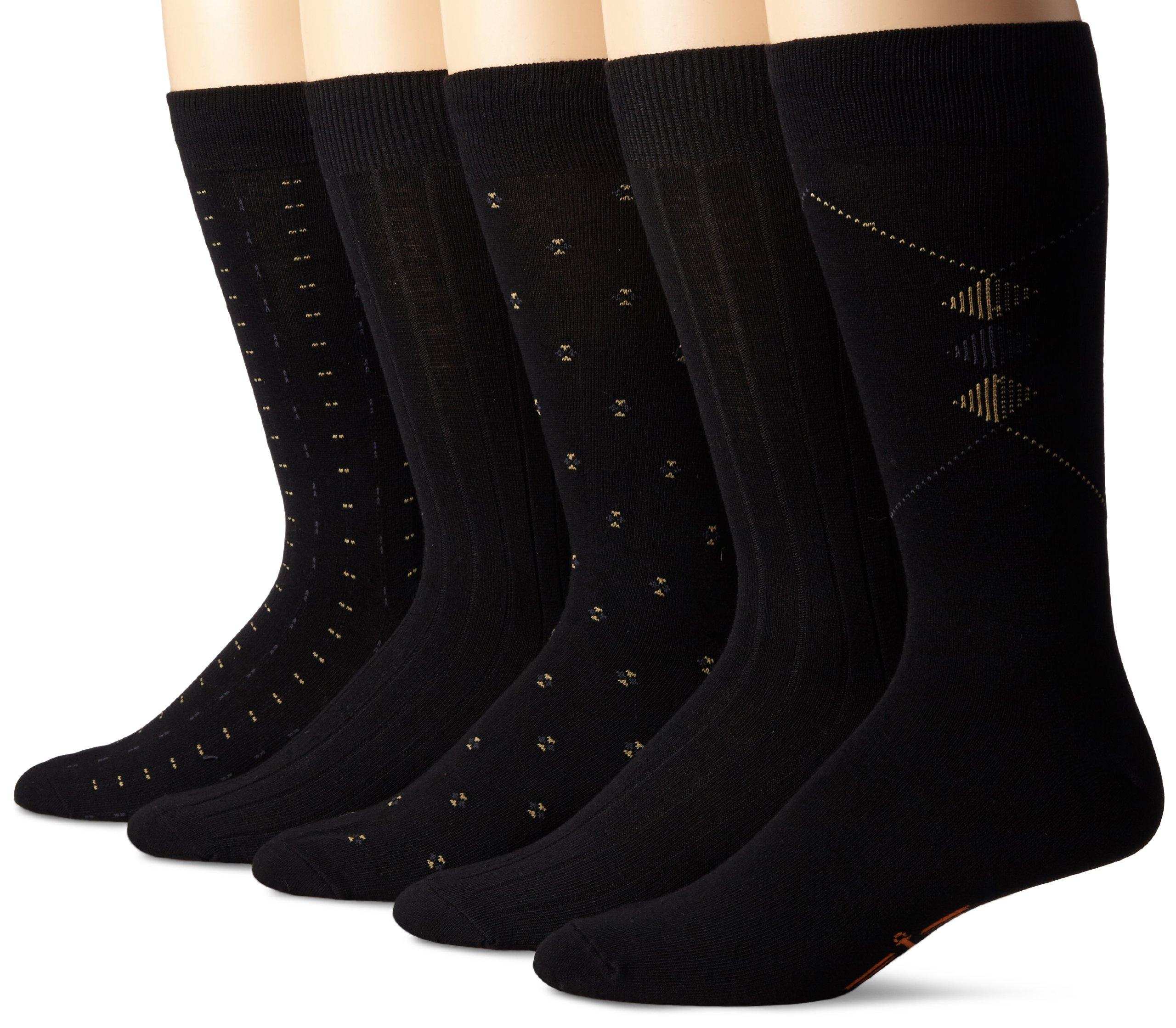Dockers Men's 5 Pack Classics Dress Dobby Crew Socks, Black, Sock Size:10-13/Shoe Size: 6-12