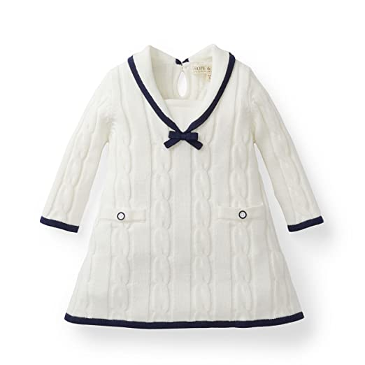 5a4cfd3b693e Amazon.com  Hope   Henry Layette Girl White Sailor Sweater Dress ...