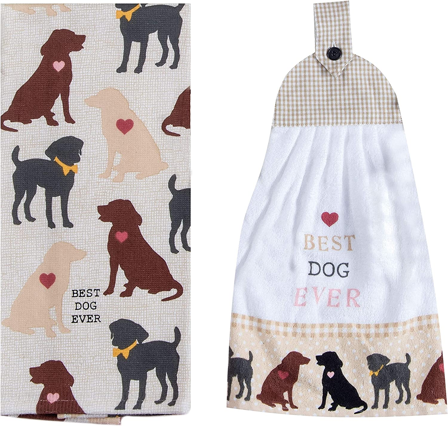 Dog Lover Dish Towels, 1 Tea Towel, 1 Terry Tie Towel, 1 Dishwasher Magnet