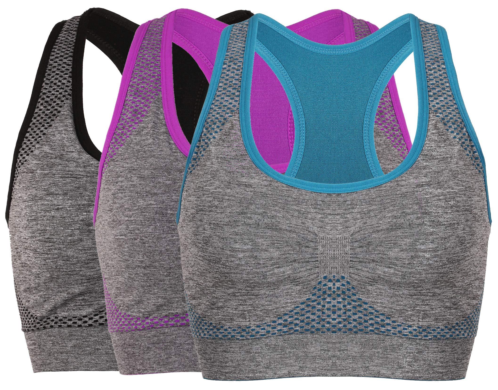 Vermilion Bird Women's Seamless Sports Bra High Impact Pocket Yoga Bras (30A 30B 30C 30D 32A 32B 32C, 3 Pack:Blue Grey Purple)