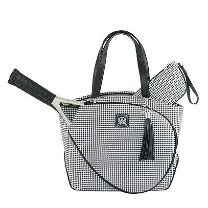 97cb6e53e3e Amazon.com   Court Couture Cassanova Houndstooth Tennis Bag in Black ...