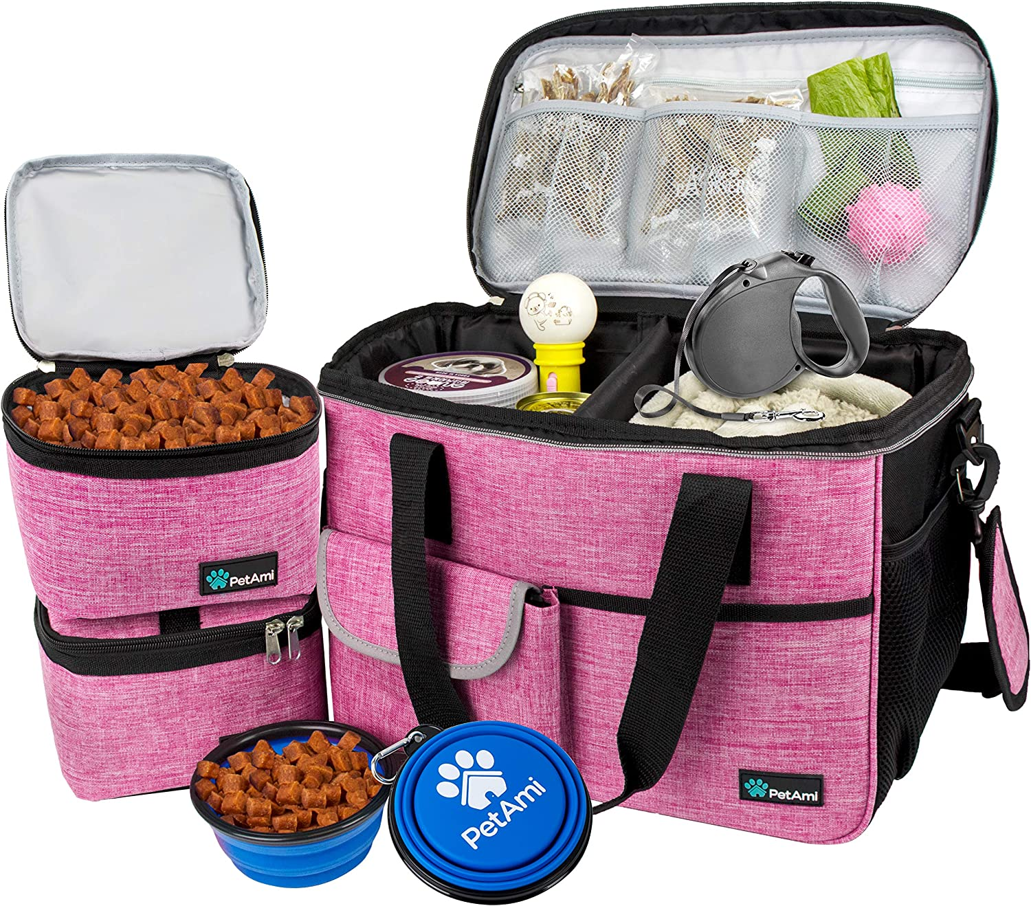PetAmi Dog Travel Bag | Airline Approved Tote Organizer with Multi-Function Pockets, Food Container Bag and Collapsible Bowl | Perfect Weekend Pet Travel Set for Dog, Cat (Pink, Small)