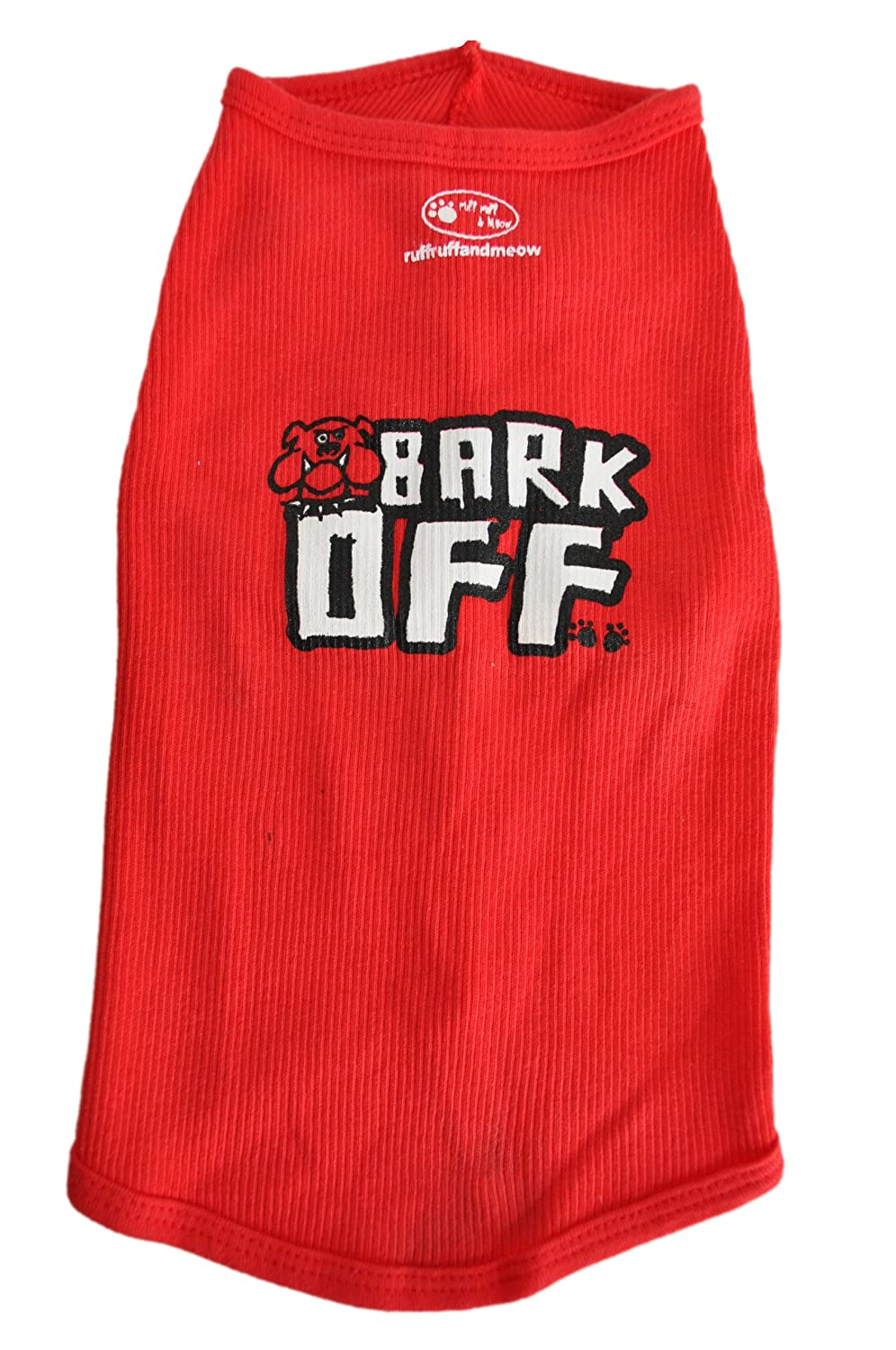 Ruff Ruff and Meow Extra-Small Dog Tank Top, Bark Off, Red