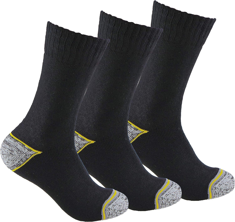 Calcetines de TRABAJO (3 pares) ideales para botas de trabajo o calzado de seguridad. Con goma ANTI-PRESION y talón y puntera reforzados. También son idóneos para deportes de invierno.