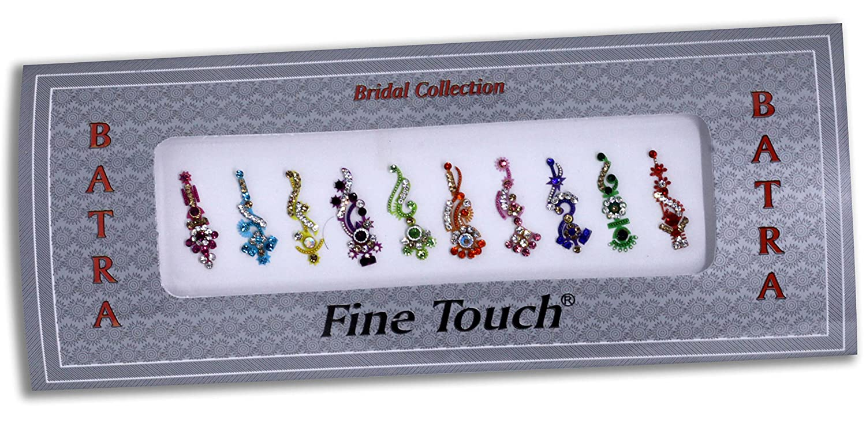 10 Bollywood Designer Bindis Premium Crystal Jewels Mettallic Bindi Stickers Tattoos Forehead Tika Sheesham Ivy LLP