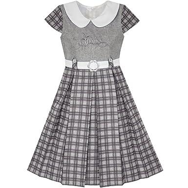 f3da1cd8f18 Sunny Fashion Robe Fille Gris Plaid Belted École Uniforme Plissé Ourlet 10  Ans