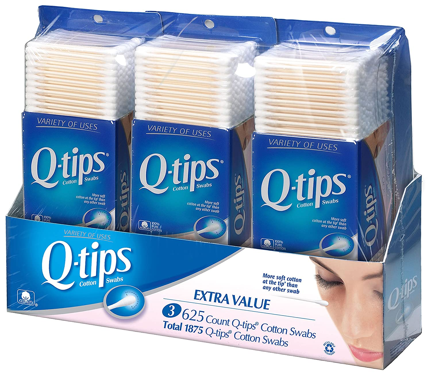 Amazon.com : Q-tips Cotton Swabs, Club Pack 625 ct, Pack of 3 : Q Tips :  Beauty