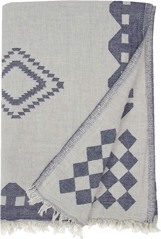 Blu Scuro Doppio Strato con Design Azteco Bersuse 100/% Cotone Fouta Telo Mare e Bagno 95 x 175 cm Asciugamano Turco Bahamas