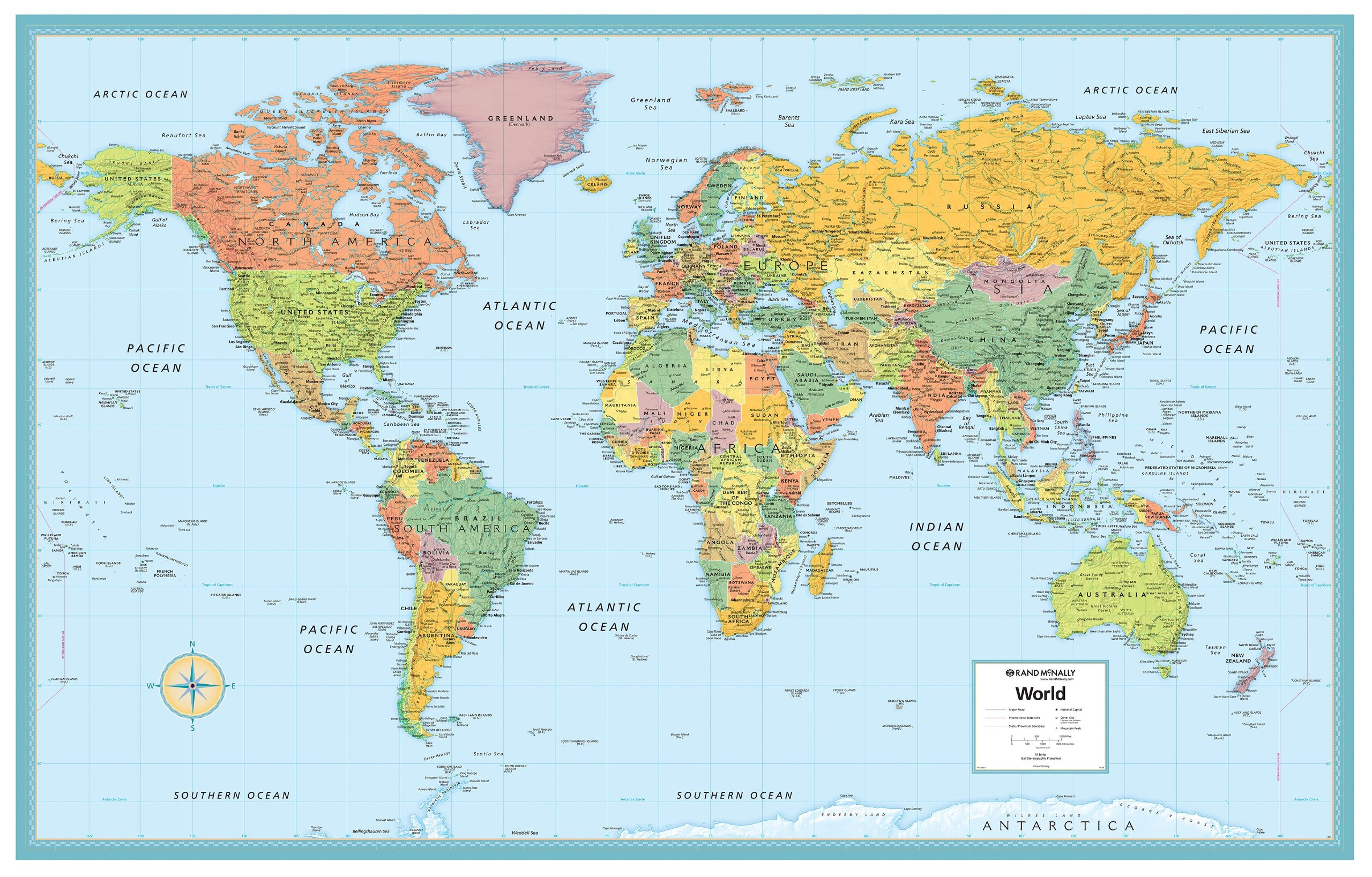 Rand Mcnally Deluxe Laminated World Wall Map Rand McNally - Labeled world map