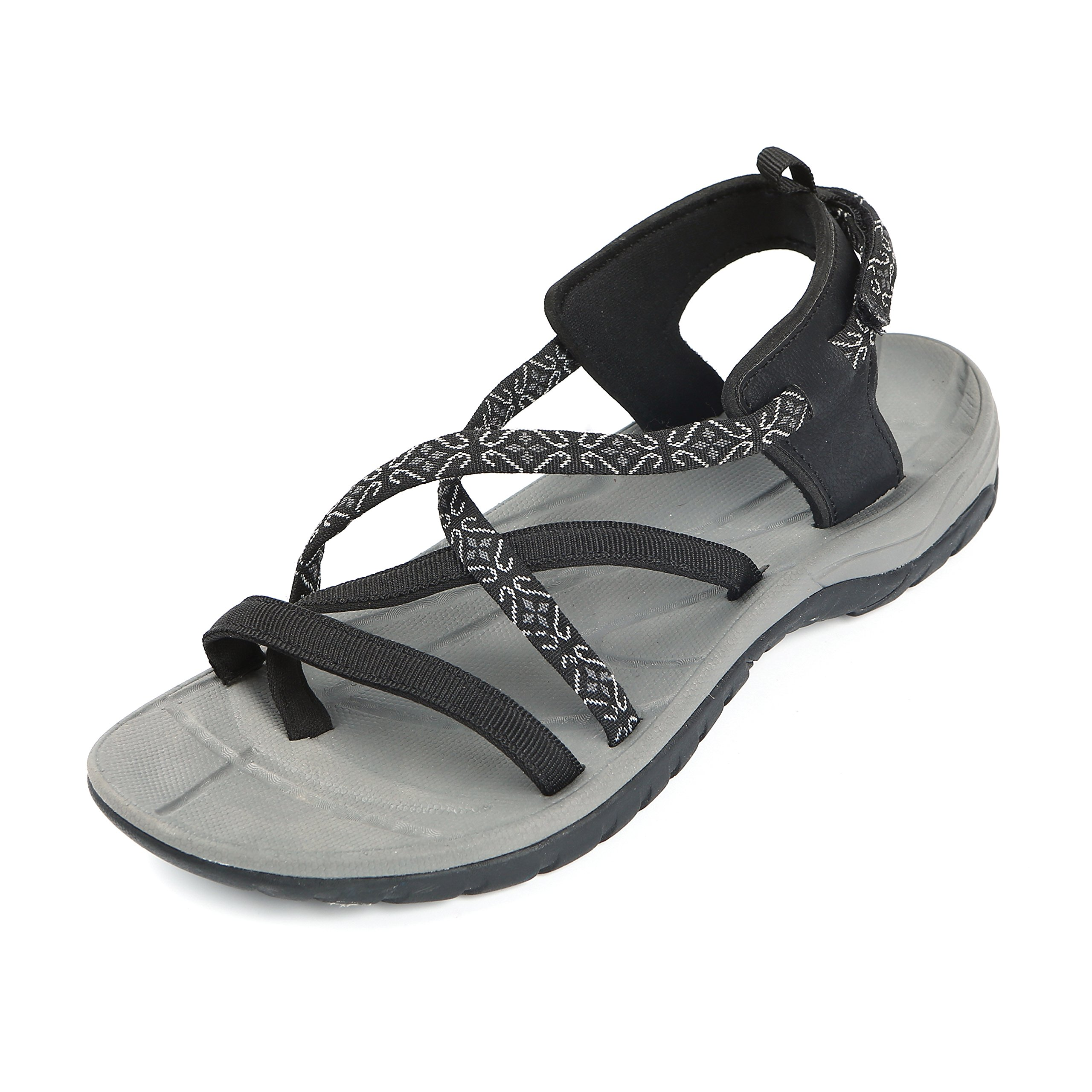 Northside Women's Covina Sandal, Black/Gray, 9 B(M) US