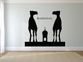 Wall Decal Sticker Muslin Decal Arabic Quote Eid Murabak Ramadan Kareem Mask  Islam Religion 1749t