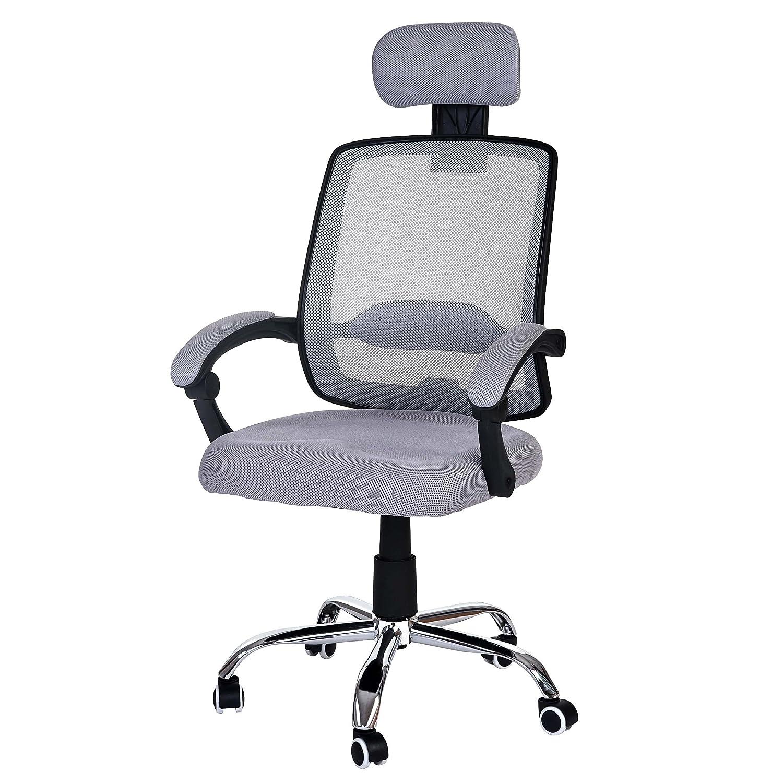 Mendler Bürostuhl Arendal, Schreibtischstuhl Drehstuhl, Kopfstütze Armlehnen Stoff Textil  grau