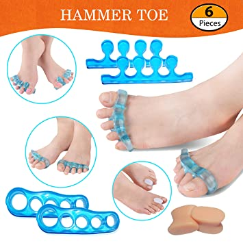 [6 pieces] Silicone Hammer Toe Straightener, Toe Stretcher, Toe Nail Corrector, Reduces Foot Pain and...