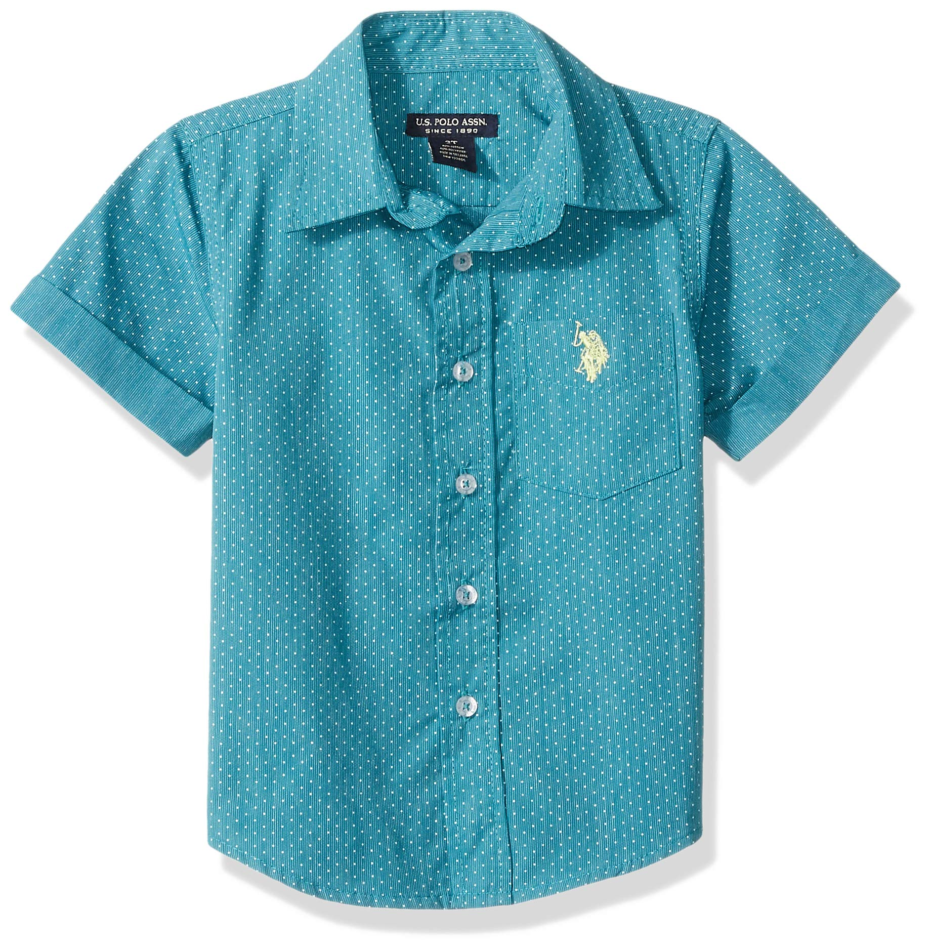 U.S. Polo Assn. Boys' Big Short Sleeve Striped Woven Shirt, Basel Teal, 10/12