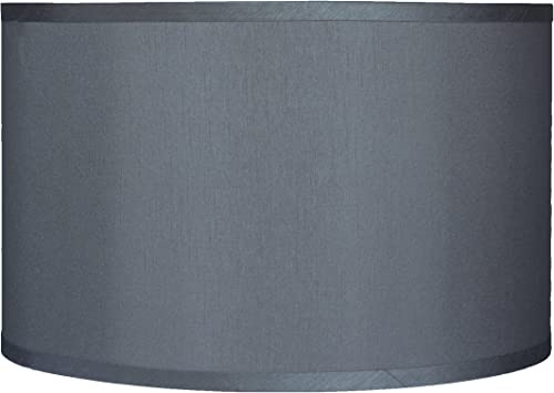 Urbanest Faux Silk Drum Lampshade, 16-inch by 16-inch by 10-inch, Gray, Spider Fitter