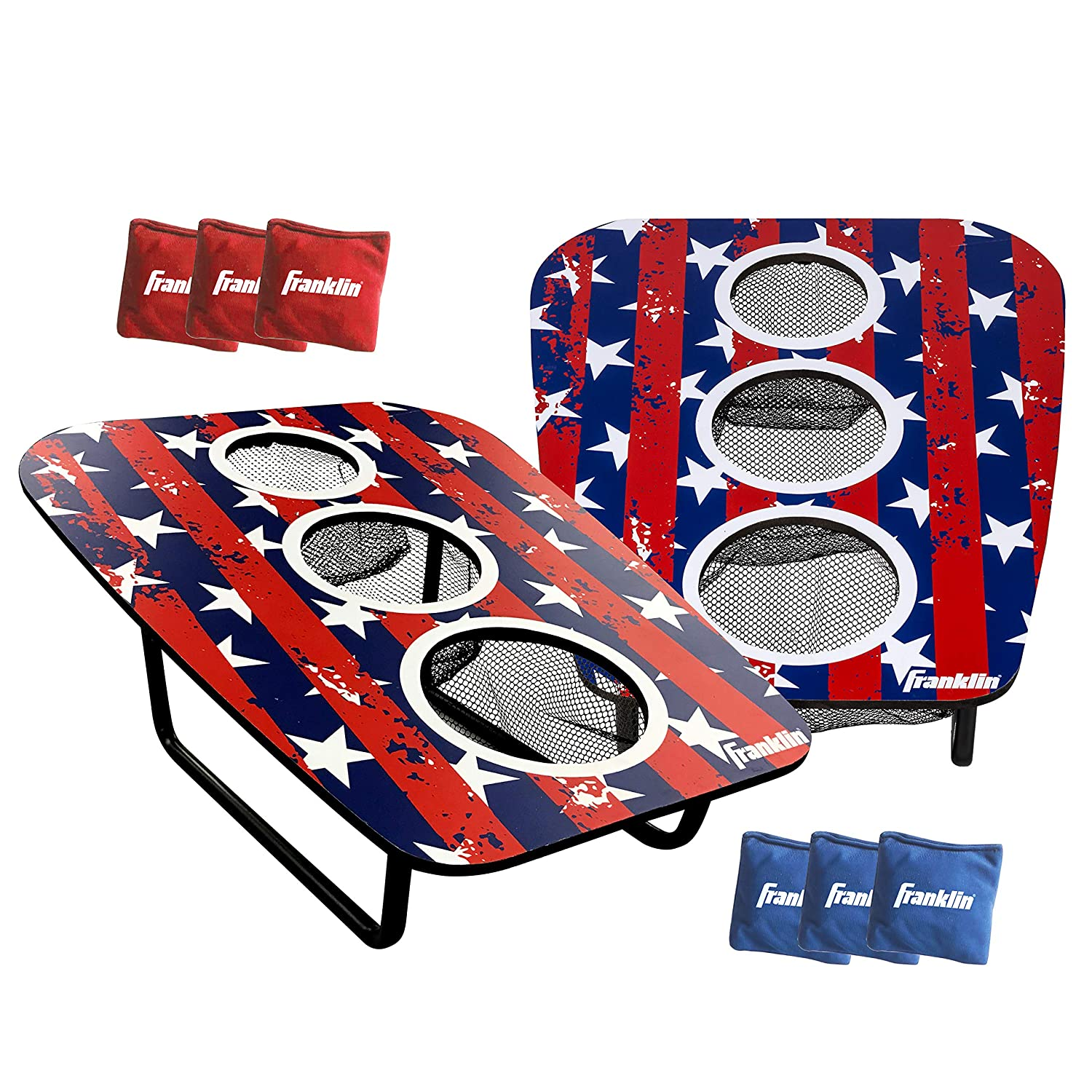 Franklin Sports Bean Bag Toss Yard Game – 3 Hole Cornhole Board Set – Red, White, and Blue – with 6 Bean Bags