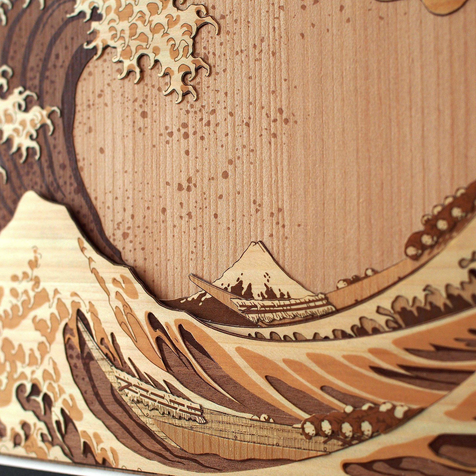 KINOWA Ukiyoe Art Kit Kiharie The Great Wave Off Kanagawa Thirty-six Views of Mount Fuji by Hokusai Made in Japan by KINOWA (Image #7)