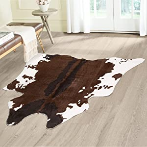"Cowhide Animal Print Area Rug – Measures 49"" X 50"", Faux Cowhide Print Carpet, Brown and Ivory, Beautiful for Your Home Decor, Cabin, Bedroom, Chalet, Living Room and More"