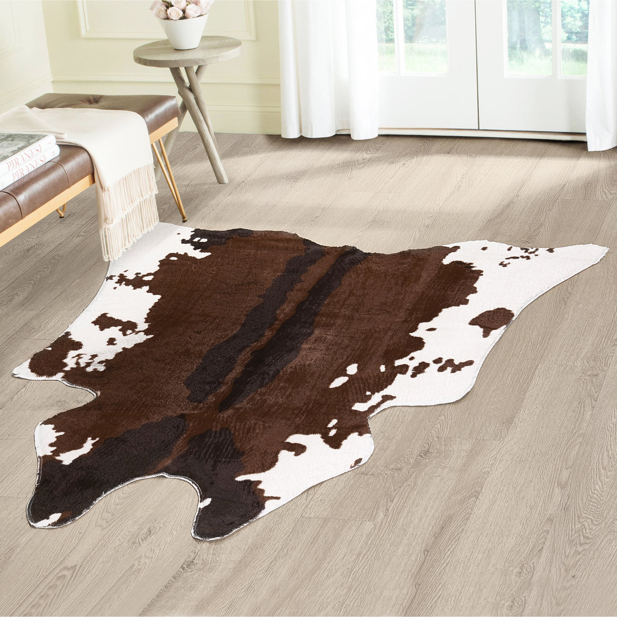 Cow Hide Animal Print Area Rug – Measures 4.1 x 4.15, Faux Cow Print Carpet, Brown and Ivory, Beautiful Décor for your Home