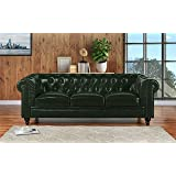 Classic Scroll Arm Real Leather Chesterfield Sofa (Green)