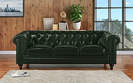 Superb Divano Roma Furniture Classic Scroll Arm Leather Match Chesterfield Sofa ( Green)
