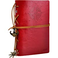 ZLYC Vintage Refillable Loose-leaf Handmade PU Leather Journal Writing Notebook Unlined Diary String Retro Anchor Perfect Gift for Him Her (Red)