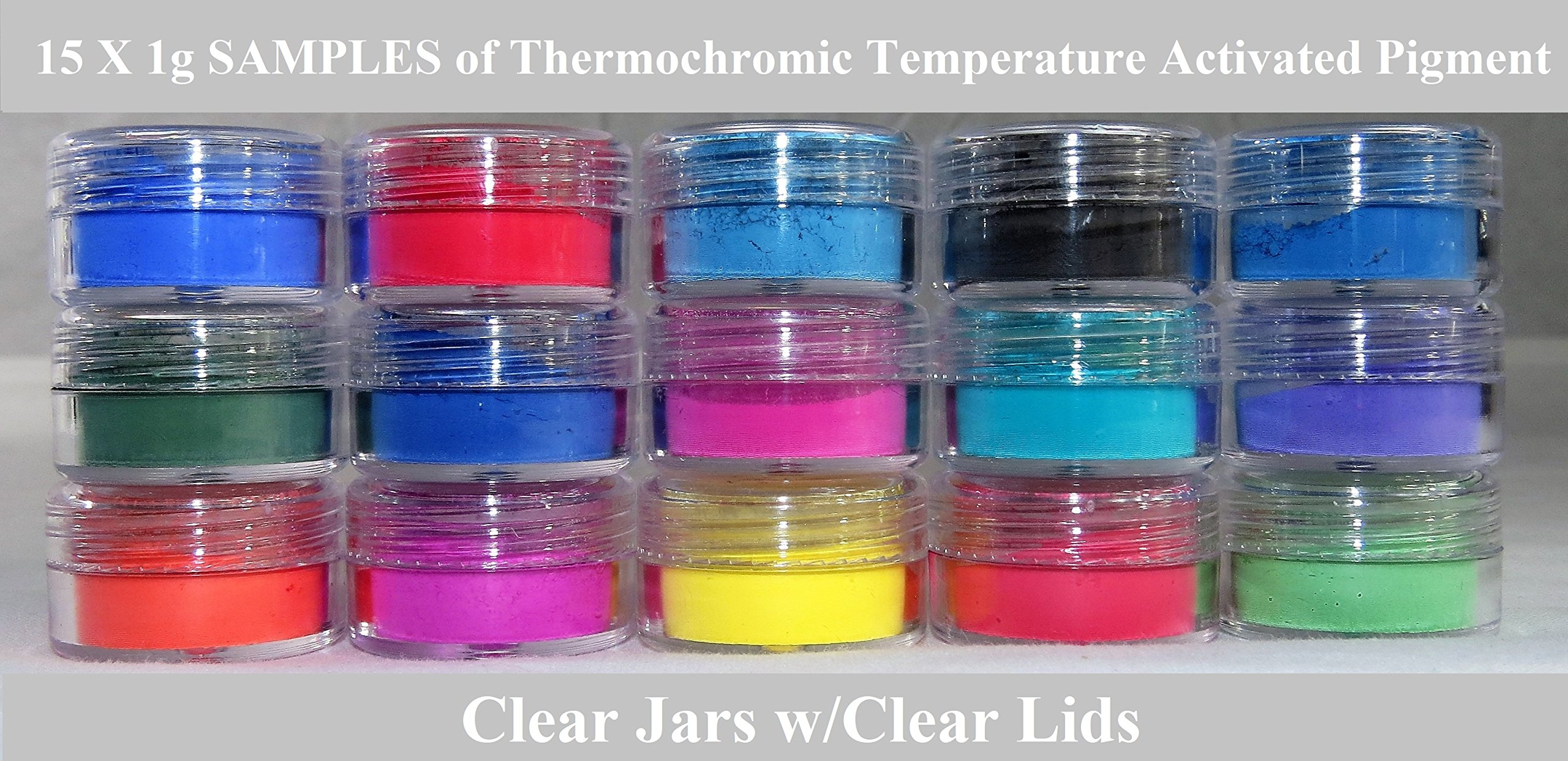 ThermoChromic Temperature Activated Pigment that changes at 88⁰F (31 ⁰C) - Great for making color-changing slime, Paint, Nail Polish, Fabric Art and More (15 x 1g Samples, Mixed Colors)
