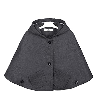 8cbd1544c Amazon.com  Everweekend Kids Girls Wool Blend Hoodie Capes Poncho ...